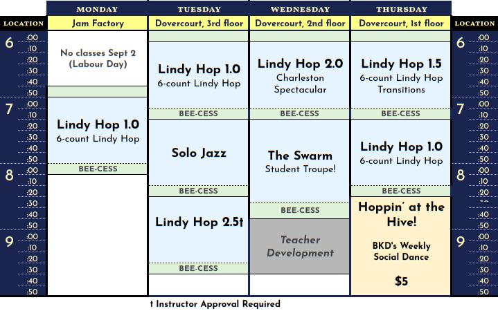Schedule for September 2019