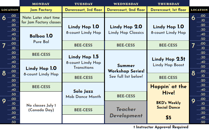 Schedule for July 2019