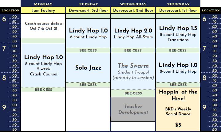 Schedule for October 2019
